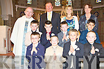 The teachers and students of Castleisland Boys NS School with Fr Michael Moynihan who made their First Holy Communion at St Stephen and St John Church, Castleisland on Saturday.