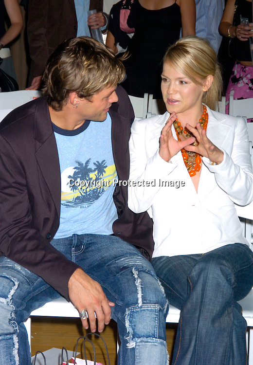 Justin Bruening and Alexa Havins..at the David Rodriguez Spring 2004 Fashion Show on ..September 11, 2004 at Mao at the Altman Building...Photo by Robin Platzer, Twin Images