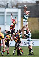 Rayn Smid of Ealing Trailfinders wins the ball at a lineout. Greene King IPA Championship match, between Richmond and Ealing Trailfinders on March 9, 2019 at the Richmond Athletic Ground in London, England. Photo by: Patrick Khachfe / Onside Images