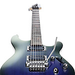 Blue Ibanez S-series electric guitar isolated at an angle on white background