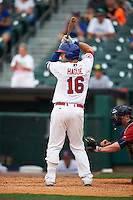Buffalo Bisons first baseman Matt Hague (16) at bat during a game against the Columbus Clippers on July 19, 2015 at Coca-Cola Field in Buffalo, New York.  Buffalo defeated Columbus 4-3 in twelve innings.  (Mike Janes/Four Seam Images)