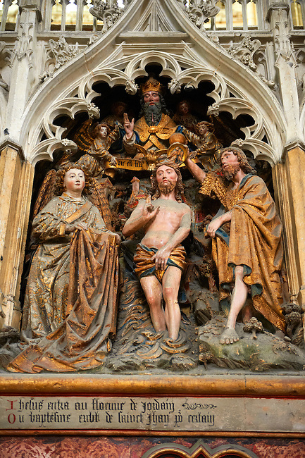 Gothic sculptures depicting scenes from the life of John The Baptist. Cathedral of Notre-Dame, Amiens, France.
