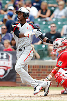 Outfielder Lewis Brinson #18 of Coral Springs High School in Florida during the Under Armour All-American Game at Wrigley Field on August 13, 2011 in Chicago, Illinois.  (Mike Janes/Four Seam Images)