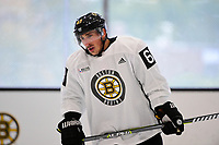September 15, 2017: Boston Bruins left wing Brad Marchand (63) catches his breath during the Boston Bruins training camp held at Warrior Ice Arena in Brighton, Massachusetts. Eric Canha/CSM