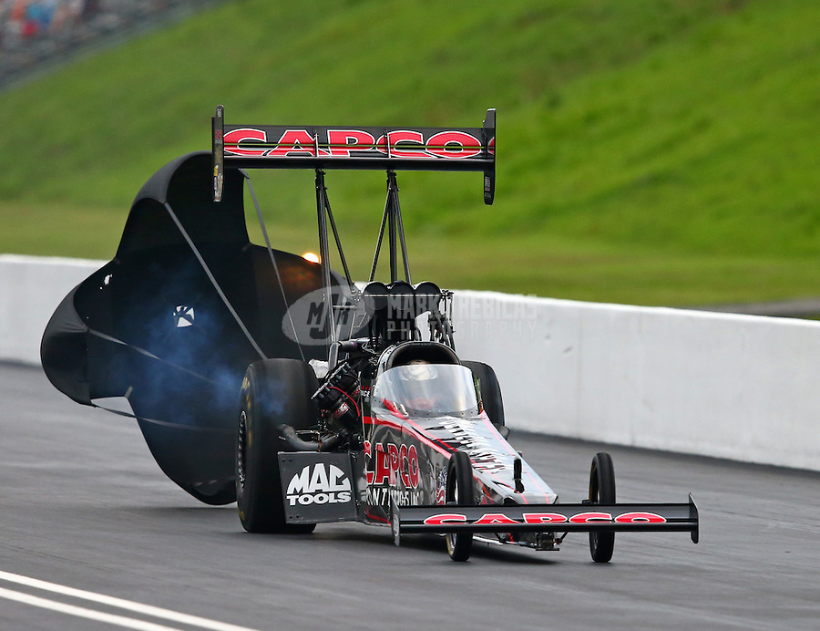 Jun 20, 2015; Bristol, TN, USA; NHRA top fuel driver Steve Torrence during qualifying for the Thunder Valley Nationals at Bristol Dragway. Mandatory Credit: Mark J. Rebilas-