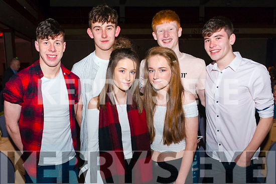 front Eva O'Leary and Emily O'Riordan, back l-r Denis O'Connor, Sean Clifford, Anthony Darmody and Sean O'Keeffe all from Rathmore pictured at Rathmore Strictly Come Dance in the INEC, Killarney last Thursday night.