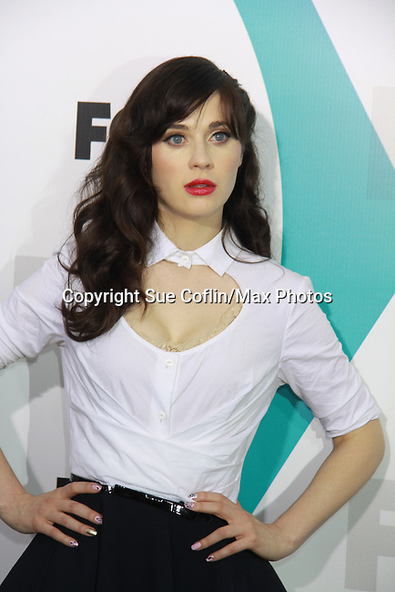"""New Girl's Zooey Deschanel """"Jess"""" at The Fox 2012 Programming Presentation on May 14, 2012 at Wollman Rink, Central Park, New York City, New York. (Photo by Sue Coflin/Max Photos) 917-647-8403"""