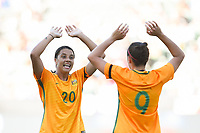 Carson, CA - Thursday August 03, 2017: Sam Kerr, Caitlin Foord during a 2017 Tournament of Nations match between the women's national teams of Australia (AUS) and Brazil (BRA) at the StubHub Center.
