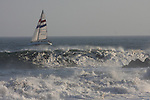 Large surf at Santa Cruz Harbor with Chardonnay