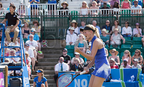 June 18th 2017, Nottingham, England; WTA Aegon Nottingham Open Tennis Tournament day 7 finals day;  Fist pump from Donna Vekic of Croatia in her match with Johanna Konta of Great Britain  (Photo by David Kissman/Action Plus via Getty Images)