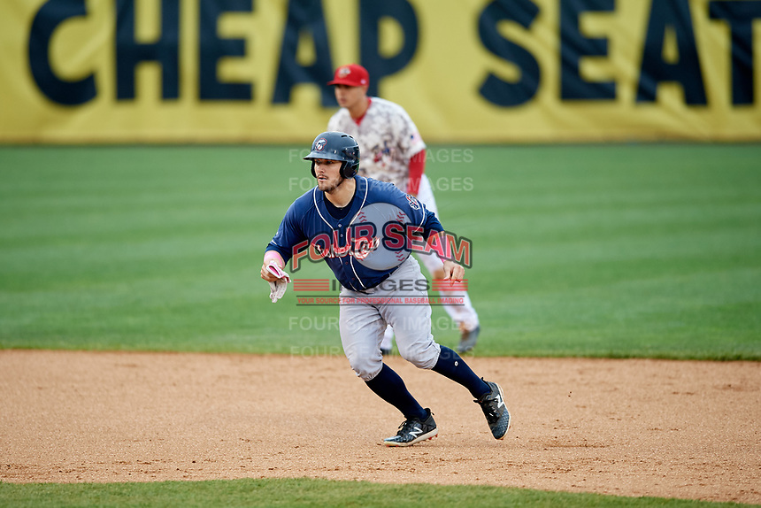 New Hampshire Fisher Cats left fielder Connor Panas (15) leads off second base during the second game of a doubleheader against the Harrisburg Senators on May 13, 2018 at FNB Field in Harrisburg, Pennsylvania.  Harrisburg defeated New Hampshire 2-1.  (Mike Janes/Four Seam Images)