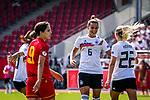 31.08.2019, Auestadion, Kassel, GER, DFB Frauen, EM Qualifikation, Deutschland vs Montenegro , DFB REGULATIONS PROHIBIT ANY USE OF PHOTOGRAPHS AS IMAGE SEQUENCES AND/OR QUASI-VIDEO<br /> <br /> im Bild | picture shows:<br /> Torjubel mit Lena Oberdorf (DFB Frauen #6) und Turid Knaak (DFB Frauen #22), <br /> <br /> Foto © nordphoto / Rauch