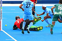 Mandeep Singh of India scores to open up a 3-0 lead during the Hockey World League Semi-Final 5-8th place match between Pakistan and India at the Olympic Park, London, England on 24 June 2017. Photo by Steve McCarthy.