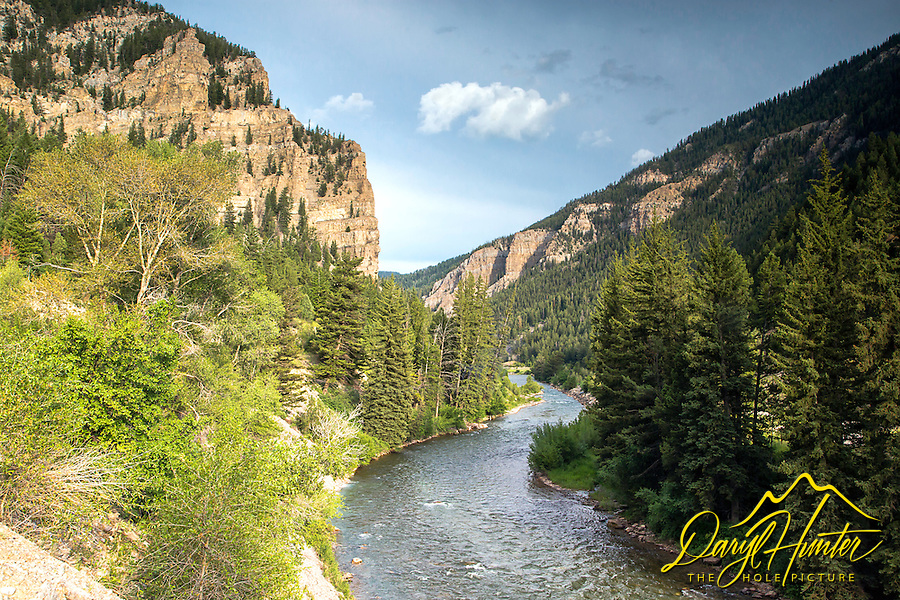 Hoback River Narrows.  The Hoback river is a tributary to the Snake River and the Hoback meets up with the Snake 12 miles south of Jackson Wyoming.