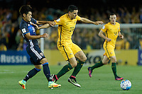 October 11, 2016: HOTARU YAMAGUCHI (16) of Japan and TOMAS ROGIC (23) of Australia fight for the ball during a 3rd round Group B World Cup 2018 qualification match between Australia and Japan at the Docklands Stadium in Melbourne, Australia. Photo Sydney Low Please visit zumapress.com for editorial licensing. *This image is NOT FOR SALE via this web site.