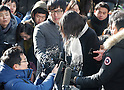 Cho Hyun-ah, DECEMBER 17, 2014 - The eldest daughter of Korean airlines (KAL) Chairman Cho Yang-ho and former vice president of KAL, Cho Hyun-ah (C) appears before prosecutors in Seoul, South Korea. Prosecutors summoned Cho on Wednesday to question for ordering a crew member to leave a plane over an alleged breach of snack-serving protocol at John F. Kennedy airport in New York City on December 5, 2014, local media reported. (Photo by Lee Jae-Won/AFLO) (SOUTH KOREA)
