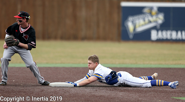 SIOUX FALLS, SD - APRIL 6: Gus Steiger from South Dakota State dives safely into second base on a double during their game against Nebraska Omaha Saturday afternoon in Sioux Falls.  (Photo by Dave Eggen/Inertia)