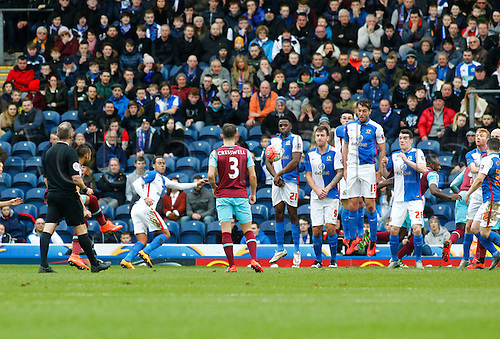 21.02.2016. Ewood Park, Blackburn, England. Emirates FA Cup 5th Round. Blackburn Rovers versus West Ham United. West Ham defender Lewis Payet (partially hidden by referee) scores his side's second goal from a free kick.