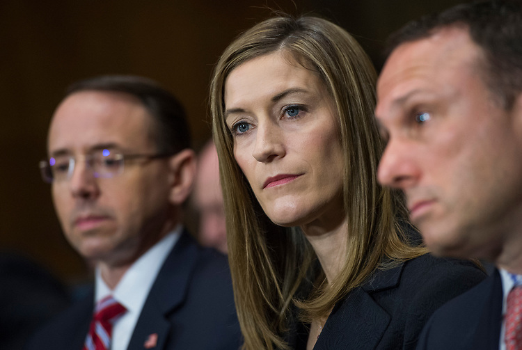 UNITED STATES - MARCH 7: Rod Rosenstein, left, nominee for deputy attorney general, and Rachel Brand, nominee for associate attorney general, attend their Senate Judiciary Committee confirmation hearing in Dirksen Building, March 7, 2017. (Photo By Tom Williams/CQ Roll Call)