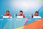 (L-R)  Yasuhiro Yamashita,  Seiko Hashimoto,  Yuji Takada (JPN), <br /> AUGUST 21, 2016 : Seiko Hashimoto, Yasuhiro Yamashita, Yuji Takada attend a press conference at Main Press Center during the Rio 2016 Olympic Games in Rio de Janeiro, Brazil. <br /> (Photo by Sho Tamura/AFLO SPORT)
