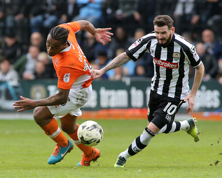 Blackpool's Neil Danns battles with Notts County's Mark Yeates<br /> <br /> Photographer David Shipman/CameraSport<br /> <br /> The EFL Sky Bet League Two - Notts County v Blackpool - Saturday 29th April 2017 - Meadow Lane - Nottingham<br /> <br /> World Copyright &copy; 2017 CameraSport. All rights reserved. 43 Linden Ave. Countesthorpe. Leicester. England. LE8 5PG - Tel: +44 (0) 116 277 4147 - admin@camerasport.com - www.camerasport.com