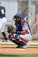 Christian Webb during the WWBA World Championship at the Roger Dean Complex on October 19, 2018 in Jupiter, Florida.  Christian Webb is a catcher from Stonemountain, Georgia who attends Redan High School.  (Mike Janes/Four Seam Images)