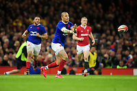 Gael Fickou of France in action during the Guinness Six Nations Championship Round 3 match between Wales and France at the Principality Stadium in Cardiff, Wales, UK. Saturday 22 February 2020