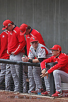 Stony Brook Seawolves outfielder Travis Jankowski #6 (center, in gray jersey) in the dugout during a game against the East Carolina University Pirates at Clark-LeClair Stadium  on March 4, 2012 in Greenville, NC.  East Carolina defeated Stony Brook 4-3. (Robert Gurganus/Four Seam Images)