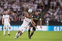 Mousa Dembele of Tottenham Hotspur battles Radamel Falcao Garcia of Monaco during the UEFA Champions League Group stage match between Tottenham Hotspur and Monaco at White Hart Lane, London, England on 14 September 2016. Photo by Andy Rowland.