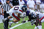 TCU Horned Frogs wide receiver Deante' Gray (20) and Samford Bulldogs defensive back Josh Kimberlin (10) in action during the game between the Samford Bulldogs and the TCU Horned Frogs at the Amon G. Carter Stadium in Fort Worth, Texas.  TCU leads Stamford 24 to 7 at halftime.