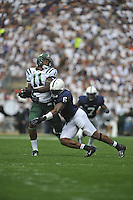 01 September 2012:  Penn State LB Gerald Hodges (6) hits tackles Ohio TE Troy Hill (11).  The Ohio Bobcats defeated the Penn State Nittany Lions 24-14 at Beaver Stadium in State College, PA..