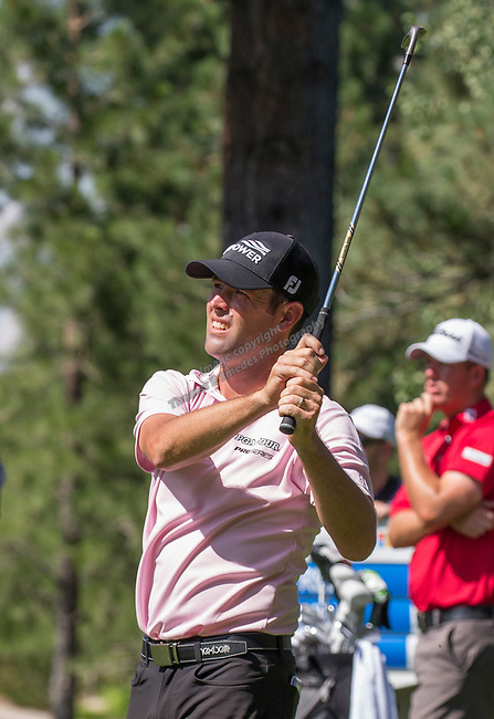 Robert Streb watches his shot on the 2nd fairway during the Barracuda Championship PGA golf tournament at Montrêux Golf and Country Club in Reno, Nevada on Saturday, July 27, 2019.