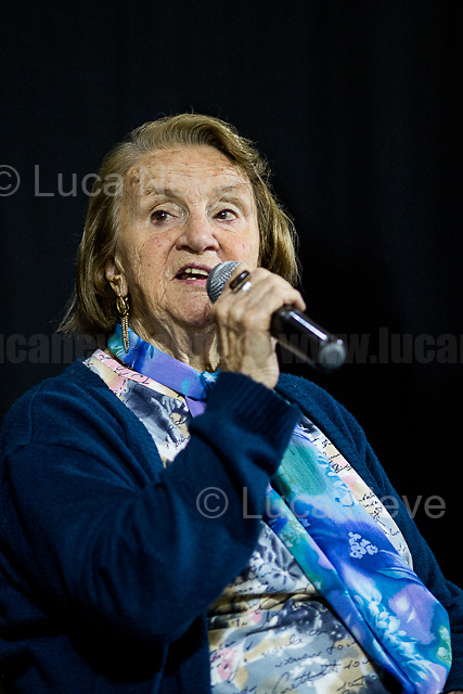 """Tina Costa (Antifascist Partizan. Member of the Partigiani: the Italian Resistance during WWII).<br /> <br /> Rome, 23/05/2018. Today, """"Associazione daSud"""" & """"Ap - Accademia Popolare dell'antimafia e dei diritti"""", to mark the 26th Anniversary of the assassination of Antimafia judge Giovanni Falcone and the 70th Anniversary of the Italian Constitution, held a conference called """"Nasce il Distretto dei Diritti e della Costituzione"""" (""""The District of Rights and the Constitution is born""""). The event supported by schools, Mayor of Rome and other organizations, was supposed to be a march and a consequent rally in the streets of Cinecittá, a suburb of Rome well known to be the largest film studio in Europe and for mafia's related crimes and intimidations. However, the bad weather forced the organisers to quickly transform it in a conference."""