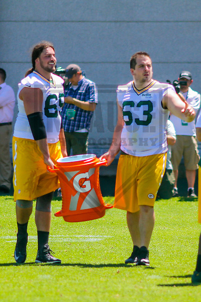 Green Bay Packers tackle David Bakhtiari (69) and center Corey Linsley (63) during a minicamp practice on June 15, 2017 at Clarke Hinkle Field in Green Bay, Wisconsin.  (Brad Krause/Krause Sports Photography)
