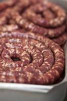 Europe/France/Midi-Pyrénées/12/Aveyron/Aubrac/Laguiole: Saucisse fraiche de la Maison Conquet -  Lucien Conquet Boucher Charcutier  pour accompagner l'aligot