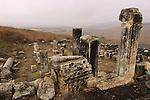 Israel, Lower Galilee, Ruins of Arbel ancient Synagogue.
