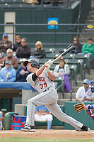 Frederick Keys infielder Cam Kneeland (39) at bat during a game against the Myrtle Beach Pelicans at Ticketreturn.com Field at Pelicans Ballpark on April 10, 2016 in Myrtle Beach, South Carolina. Myrtle Beach defeated Frederick 7-5. (Robert Gurganus/Four Seam Images)