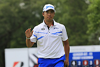 Hideki Matsuyama (JPN) sinks his birdie putt on the 9th green during Sunday's Final Round of the WGC Bridgestone Invitational 2017 held at Firestone Country Club, Akron, USA. 6th August 2017.<br /> Picture: Eoin Clarke | Golffile<br /> <br /> <br /> All photos usage must carry mandatory copyright credit (&copy; Golffile | Eoin Clarke)
