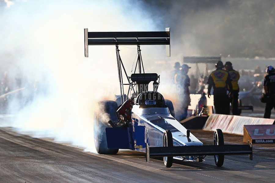 Aug. 16, 2013; Brainerd, MN, USA: NHRA top fuel dragster driver Tim Cullinan during qualifying for the Lucas Oil Nationals at Brainerd International Raceway. Mandatory Credit: Mark J. Rebilas-