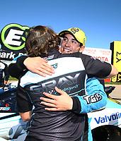 May 21, 2017; Topeka, KS, USA; NHRA pro stock driver Tanner Gray celebrates with crew after winning the Heartland Nationals at Heartland Park Topeka. Mandatory Credit: Mark J. Rebilas-USA TODAY Sports