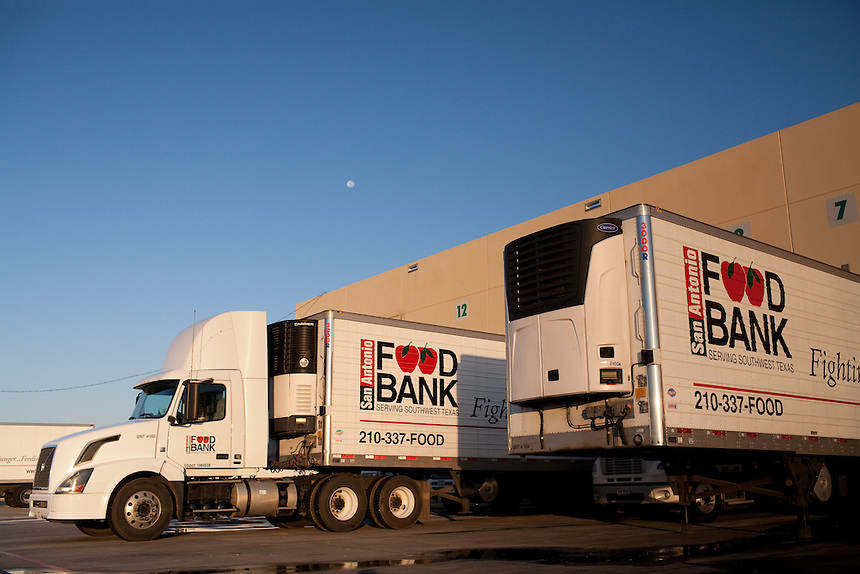 Delivery trucks sit at the loading dock of San Antonio Food Bank in San Antonio, Texas. October 2, 2012. Copyright Lance Rosenfield / Prime