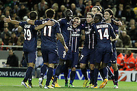Paris Saint-Germain's Lucas, Ezequiel Lavezzi, Mamadou Sakho, Marco Verratti, Maxwell, Zlatan Ibrahimovic, Blaise Matuidi and Javier Pastore celebrate goal during Champions League 2012/2013 match.February 12,2013. (ALTERPHOTOS/Acero) /NortePhoto