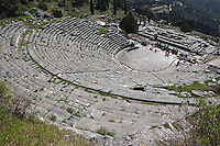 DELPHI, GREECE - APRIL 12 : A panoramic view from the top of the theatre, North-West edge of the temenos, on April 12, 2007 in Delphi, Greece. The theatre was built of local Parnassos limestone in the 3rd century BC. The auditorium consists of 35 rows of seats and could accomodate some 5'000 spectators. (Photo by Manuel Cohen)