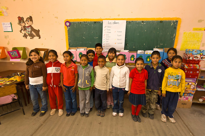 Mayo Indian school children in a classroom, Josefa Ortiz de Dominguez Primary School, Tehueco (near El Fuerte), Mexico