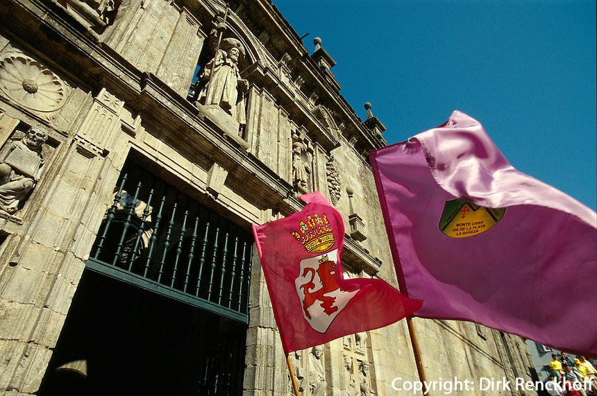 Kathedrale, vor der Puerta Santa, Santiago de Compostella, Galicien, Spanien, Unesco-Weltkulturerbe
