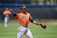 Houston Astros shortstop Jeremy Pena (1) throws to first during a Minor League Spring Training Intrasquad game on March 28, 2019 at the FITTEAM Ballpark of the Palm Beaches in West Palm Beach, Florida.  (Mike Janes/Four Seam Images)