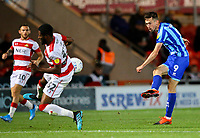 Blackpool's Ryan Hardie sees his shot blocked by Doncaster Rovers' Cameron John<br /> <br /> Photographer Alex Dodd/CameraSport<br /> <br /> The EFL Sky Bet League One - Doncaster Rovers v Blackpool - Tuesday September 17th 2019 - Keepmoat Stadium - Doncaster<br /> <br /> World Copyright © 2019 CameraSport. All rights reserved. 43 Linden Ave. Countesthorpe. Leicester. England. LE8 5PG - Tel: +44 (0) 116 277 4147 - admin@camerasport.com - www.camerasport.com
