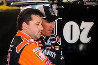 Sept. 26, 2008; Kansas City, KS, USA; Nascar Sprint Cup Series driver Tony Stewart (left) with Clint Bowyer during practice for the Camping World RV 400 at Kansas Speedway. Mandatory Credit: Mark J. Rebilas-