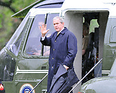 Washington, D.C. - April 21, 2008 -- United States President George W. Bush waves from Marine 1 as he prepares to depart from the South Lawn of the White House for meetings in New Orleans, Louisiana with President Felipe de Jesus Calderon Hinojosa of Mexico and Prime Minister Stephen Harper of Canada.<br /> Credit: Ron Sachs / Pool via CNP