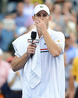 FLUSHING NY- SEPTEMBER 5: Andy Roddick reacts after losing his last match to Juan Martin Del Potro on Armstrong stadium at the USTA Billie Jean King National Tennis Center on September 5, 2012 in in Flushing Queens. Credit: mpi04/MediaPunch Inc. ***NO NY NEWSPAPERS*** /NortePhoto.com<br />